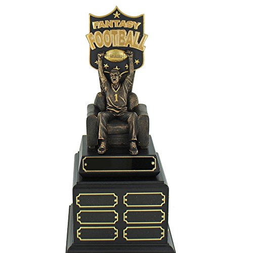 15 Inch Customizable Fantasy Football Perpetual Trophy with 1 Header Plate and 18 Name Plates, Includes Personalization