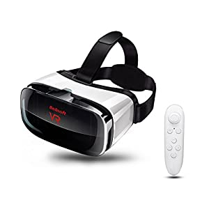 VR Headset with Remote Controller, Virtual Reality Headset VR Goggles for 3D Movie Games, VR Glasses Compatible with 4.5 - 6.3 inch Screens, No Battery Included