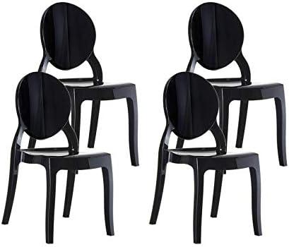 resol set de 4 sillas de diseño Mia para interior, exterior, jardín - color negro: Amazon.es: Jardín