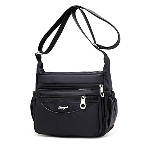 JOSEKO Casual Multi-Pockets Light Shoulder Bags Outdoor Travel Waterproof Crossbody Bags for Women Dark Purple Black