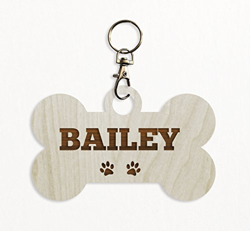 Andaz Press Personalized Laser Engraved Wood Keychain, Pet Christmas, Bone, 1-Pack, Custom Name Rustic Pet Holiday Gift