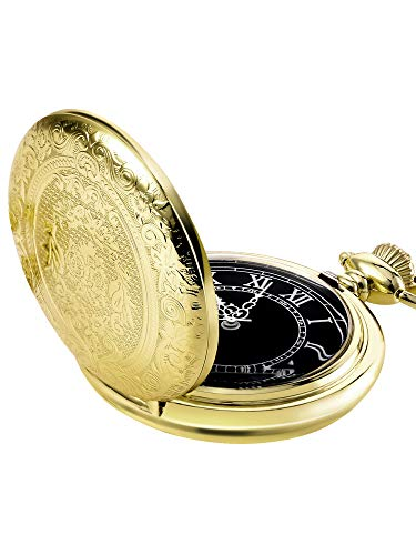 Hicarer Quartz Pocket Watch for Men with Black Dial and Chain - Pocket Engraved Watch Yellow
