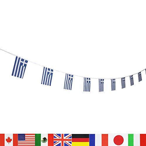 LoveVC Greece Flag, 100 Feet Greek Flag National Country World String Flags Banners,International Party Decorations Supplies For World Cup,Olympics,Sports (Greek Decorations)