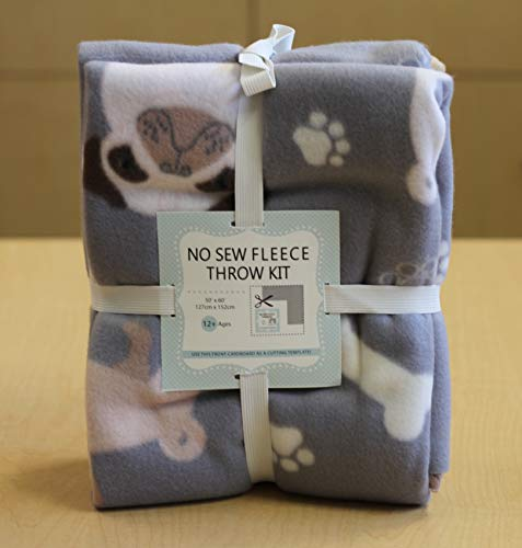 Pug Paws No-Sew Throw Fleece Fabric Kit - Kit Fleece Dog