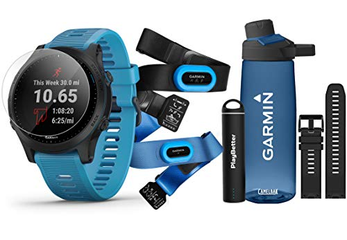 (Garmin Forerunner 945 (Tri-Bundle) Runner's Bundle | Includes Garmin Water Bottle, HRM-Tri & HRM-Swim Chest Straps, HD Screen Protectors (x4), Watch Bands (x2, Blue & Black) & PlayBetter Charger)