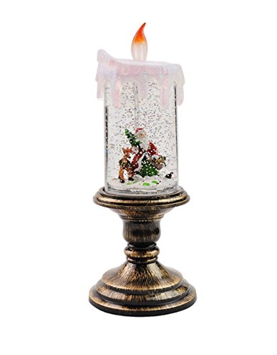 Eldnacele Battery Operated Lighted Christmas Snowman Spinning Water Snow Glitter Globe Lantern Decor (Candle Santa Claus) (Snow Santa)