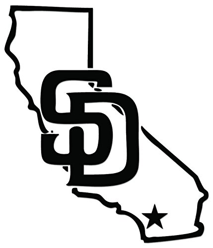 (San Diego California Map Vinyl Decal Sticker For Vehicle Car Truck Window Bumper Wall Decor - [6 inch/15 cm Tall] - Gloss WHITE Color)