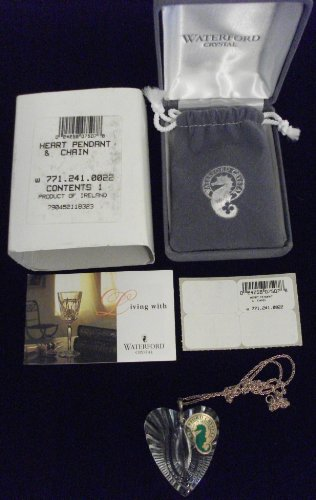 NIB WATERFORD CRYSTAL HEART PENDANT & STERLING CHAIN