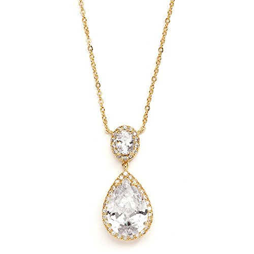 Couture Jewelry Necklace - Mariell 14K Gold Plated Couture Cubic Zirconia Pear-Shaped Bridal Necklace. Our #1 Pendant Necklace!