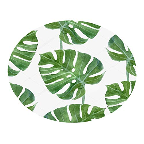 youeneom Plant leaves Pattern Round Carpet 60cm Bathroom Rug,Non-Slip,Machine-Washable Shaggy Bath Mats,Perfect Plush Carpet Mats for for Tub, Shower, Bath Room (E)