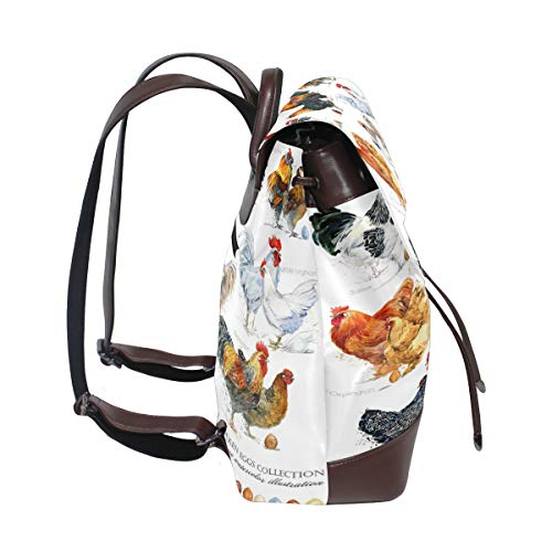 Kvinnor PU-läder kyckling ryggsäck handväska resa skola axelväska ledig dagväska