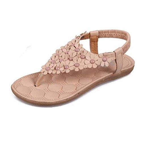 Sonnena Women's Summer Rhinestone Bead Bohemia Folk Round Dunlop Clip Toe Sandals Boho Beach Flip Flops Flat Elastic T-Strap Post Thong Sandals Shoes Khaki