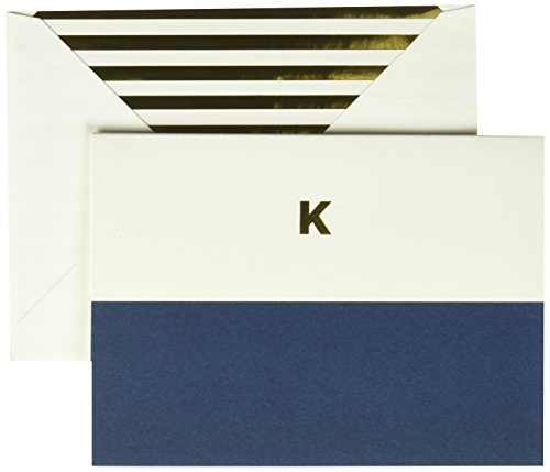 Kate Spade Dipped Initial Fold over Notes, K, Navy (1740K)