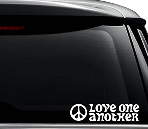 Love One Another Hippie Decal Sticker For Use On Laptop, Helmet, Car, Truck, Motorcycle, Windows, Bumper, Wall, and Decor Size- [6 inch] / [15 cm] Wide / Color- Matte White