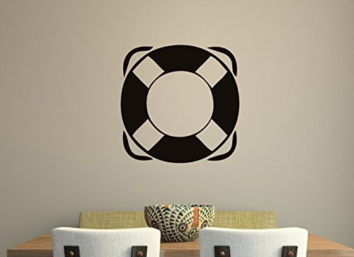 Nautical Wall Decal Life Preserver Ring | Vinyl Sticker Decor Decal for Nursery, Kids Room, Swimming Pool, Boathouse | Small, Large Sizes | Black, White, Gray, Red, Blue, Other Colors