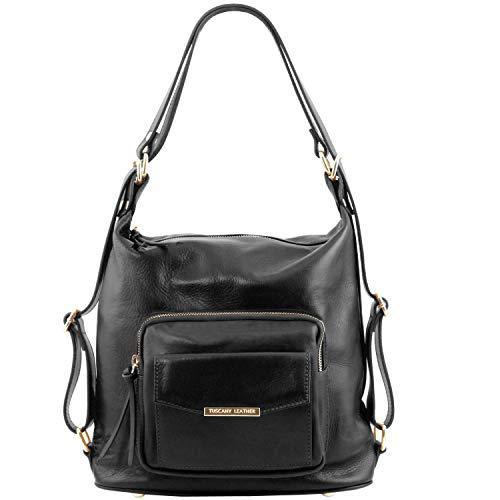 Señora Bolso Tuscany Leather Negro Convertible De Mochila Tlbag Rojo En Piel Er1Iwrq