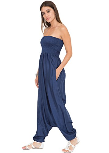 likemary Harem Jumpsuit and Hareem Pants Convertible 2 in 1 Silk Look Bandeau Romper Cobalt