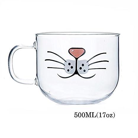 Taza de cristal Cat Beard, adorable, divertida, linda taza de gato, taza