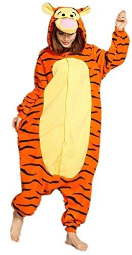 WOWCOS Adult Unisex Animal Kigurumi Cosplay Costume Pajamas Onesies,Tigger M (Onesie For Male Adults)