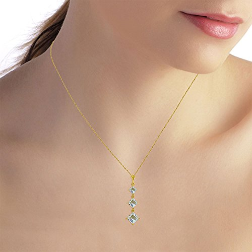ALARRI 2.4 CTW 14K Solid Gold Love Lock Aquamarine Necklace with 18 Inch Chain Length by ALARRI (Image #1)