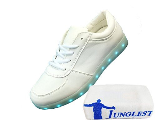 (Present:small towel)JUNGLEST® Unisex Men Women 7 Colors USB Charging LED Lighted Luminous Couple Casual Sport Shoes Fl White