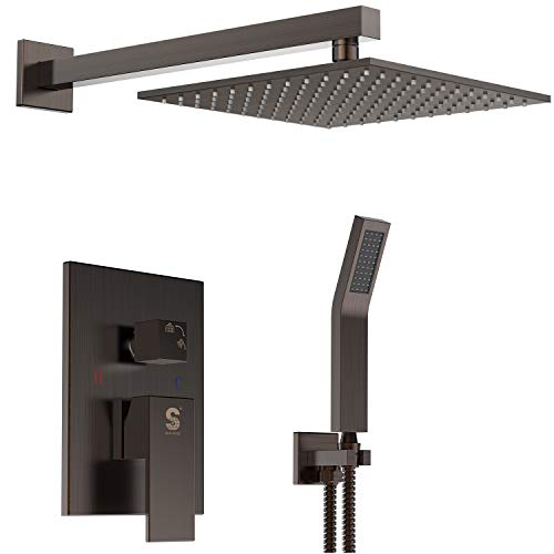 SR SUN RISE Venetian Bronze Shower System 10 Inch Brass Bathroom Luxury Rain Mixer Shower Combo Set Wall Mounted Rainfall Shower Head System(Contain Shower faucet rough-in valve body and trim)