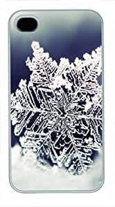 High Quality Fashion White Plastic Case for iPhone 4 Generation Back Cover Case for iPhone 4S with Snowflake