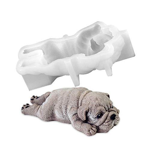 Candy Bulldog (RoseSummer DIY Silicone Shar Pei Bulldog Mold Fondant Cake Sugercraft Chocolate Pudding Mould Baking Tool)