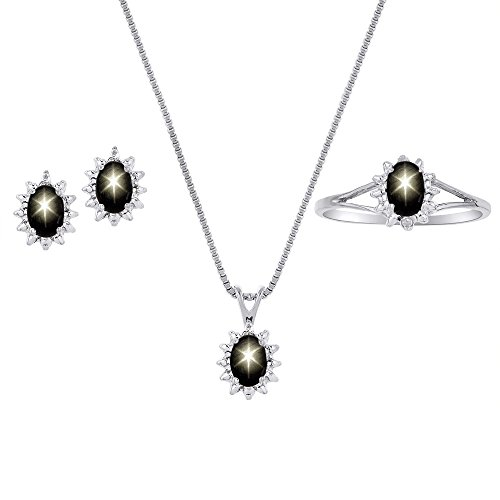 Genuine Natural Black Star Sapphire & Diamond Pendant, Earrings & Ring in Sterling Silver .925 with Gift Box