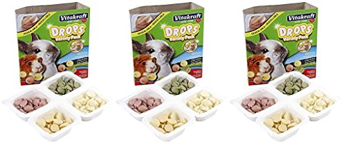 (3 Pack) Vitakraft Drops Variety Pack Treats for Rabbits & Guinea Pigs (Yogurt, Banana, Strawberry, ()