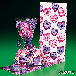 Valentine Party Loot Bags - 12 VALENTINE Conversation HEART PARTY Favor Cellophane GOODY Bags/CELLO Gift/LOOT BAGS for VALENTINE'S DAY Parties/FAVOR/COOKIES/SWEETS/Dozen