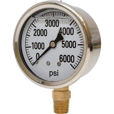 Valley Instrument 2 1/2in. Stainless Steel Glycerin Gauge - 0-6000 PSI
