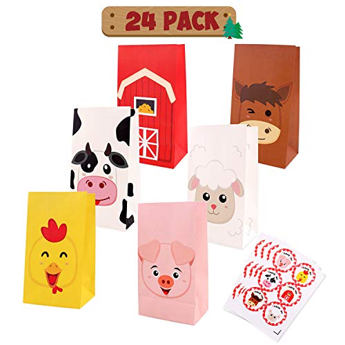 Farm Animal Favor Bags Birthday Candy Gift Barnyard Treat Goodie Bags Party Supplies Set of 24 ()