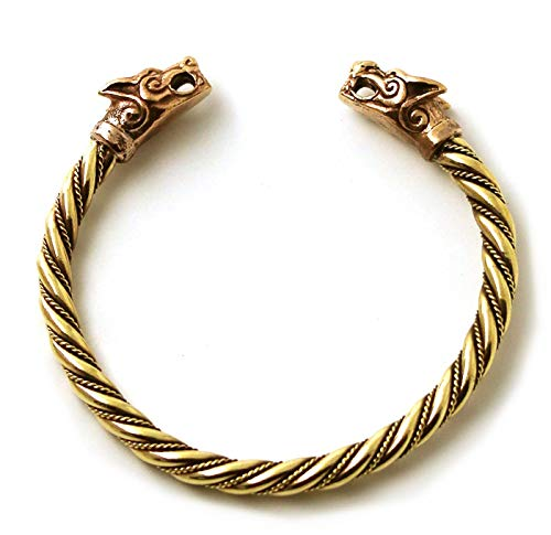 LynnAround Bronze Norse Viking Fenrir Wolf Head Twisted Cable Bangle Cuff Bracelet Arm Ring Pagan Jewelry (7 Inches)