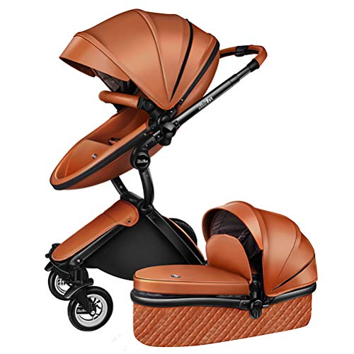 ANYWN Baby Stroller 2 in 1 High Landscape Pram Foldable Pushchair, Sleeping Stroller, Foldable Pram Carriage with 5-Point Harness,Brown+sleepingbasket