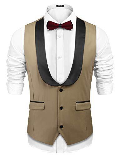 COOFANDY Mens Business Dress Suit Button Down Wedding Vest Waistcoat,Khaki,Large