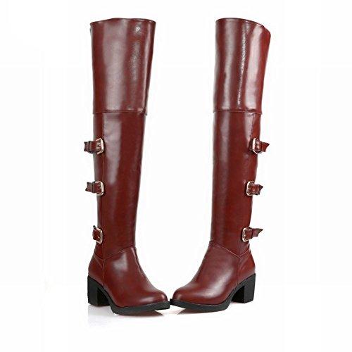 Mee Shoes Damen chunky heels runde langschaft Reißverschluss Stiefel Braun  ...