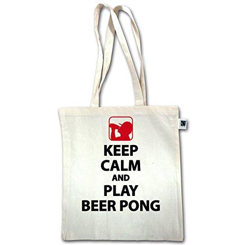 Festival - Keep Calm And Play Beer Pong - Unisize - Natural - XT600 - Jutebeutel lange Henkel