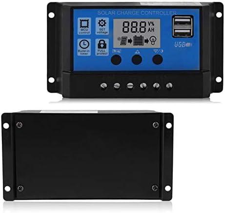 24V 10A Controlador de panel solar Regulador de carga de bater/ía Cloverclover Profesional 2USB 12V