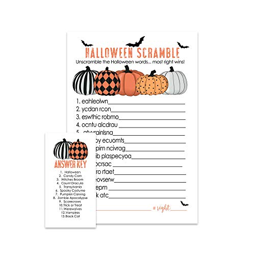 Bewitched Halloween Party Game | Word Unscramble | Set of 25 | Orange and -