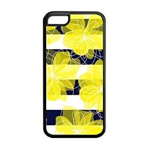Floral Pattern Design Solid Rubber Customized Cover Case for iPhone 5c 5c-linda102