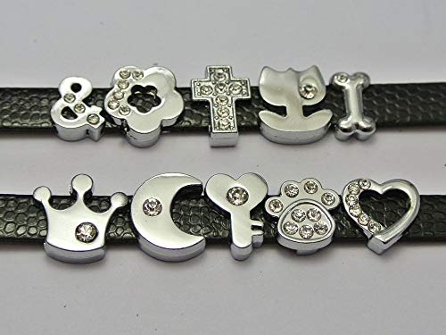 Calvas 10 Assorted Silver Alloy Flower Cross Heart Slide Charms Fit 8mm Wristband