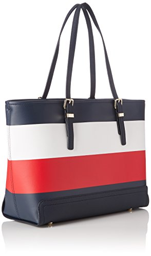 Tommy Hilfiger Honey Med Tote Corp Stripe - Borse Donna, Nero (Corporate Mix), 13.5x42x27 cm (B x H x T)