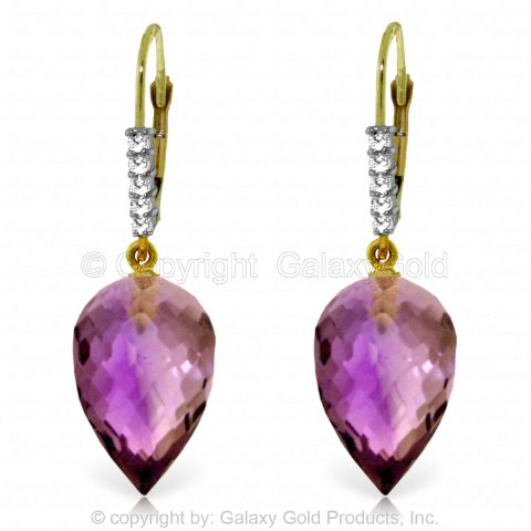 14k Yellow Gold Earrings with Drop Briolette Amethysts and Diamonds