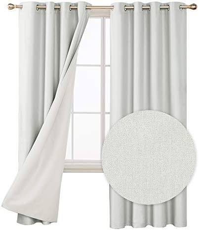 Deconovo Faux Linen Total Blackout Curtains Room Darkening Thermal Insulated Energy Saving Window Draperie