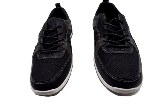 Marco Vitale Collection, Mens Stitched and Perforated Three-Tone Sneakers Black