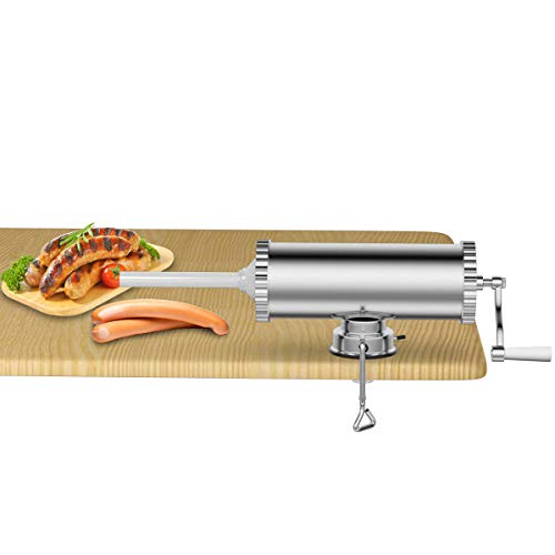 Goplus 5Lb/3L Horizontal Sausage Stuffer Maker Stainless Steel Meat Filler Kit w/ 3 Sizes of Food-Grade Sausage Tubes, Commercial Home Use ()