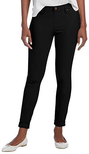 HUE, Women's, HUE Women's Cuffed Essential Denim Skimmer Leggings, Black, (Skimmer Base)