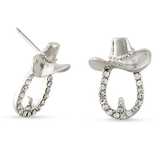 Silver Tone Clear Crystal Cowboy Hat Buckle Stud Western Earrings