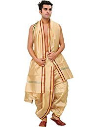 Exotic India Ready to Wear Dhoti and Angavastram Set with Woven Golden Border